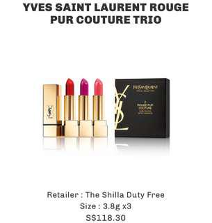 YSL YVES SAINT LAURENT ROUGE PUR COUTURE TRIO TRAVEL EXCLUSIVE SET LIPSTICK CHANGI AIRPORT SHILLA DUTY FREE