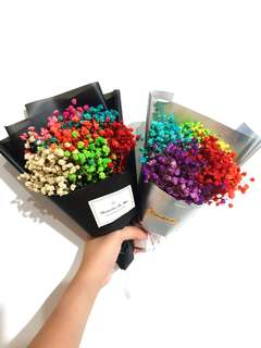 Rainbow baby breaths bouquet