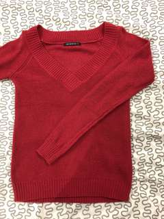 Red V neck Knitted Top