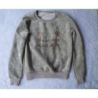 Greenish Gray Cat Sweater