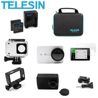 🚚 TELESIN 8 in 1 Accessories Combo Kits Battery + Charger + Carry Case + Lens Cover + Screen Protector + Waterproof Housing Case + Mount Adapter + Silicone Case + Housing Frame for Xiaomi Yi 4K / 4K+ Action Camera Accessories