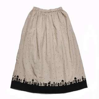 全新 森系 波點 米白色半身裙