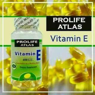 FREE SHIPPING PROLIFE ATLAS VITAMIN E 400 I.U. 100 SOFTGELS