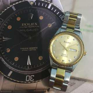 古董 瑞士 真鑽石BULOVA 金銀潤 包金手錶 原廠正貨SEiKO 大裝36mm