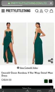 Emerald green bandeau maxi dress