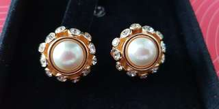 Vintage Christian Dior Gold Plated Peral and 12 Rhinestones  Clip On Earrings made in Germany