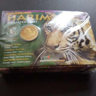 """2003 """"Light of Malaysia"""" endangered animals Tiger nordic gold UNC item no.1"""