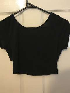 Black crop top backless size 8