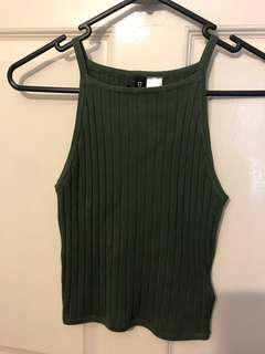 Khaki green cropped halter neck top size 8