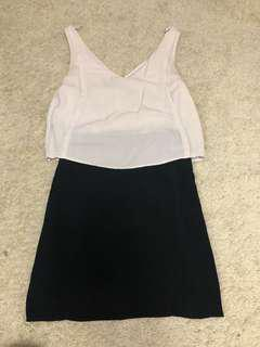 Aritzia babaton 100% silk black and white layered dress