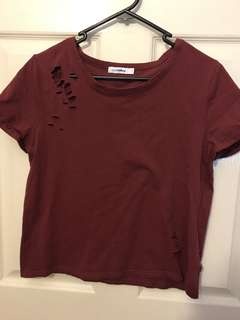 Ripped look maroon crop top size 8