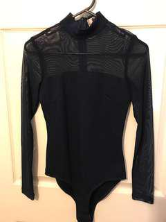 Long sleeve navy blue body suit size 8