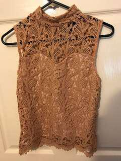 Nude lace top size 8