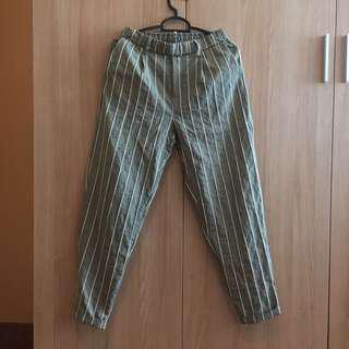 Green and White Striped Capri Pants