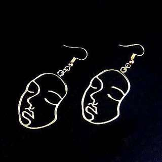Line art earrings