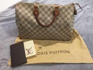 Authentic Louis Vuitton Speedy 35 Damier Azur