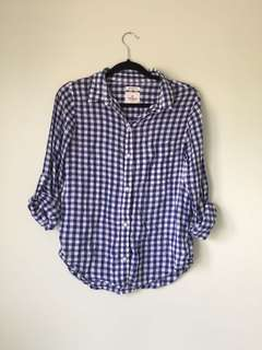 American Eagle Blue Gingham Button Down