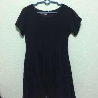Black Babydoll Crochet Dress