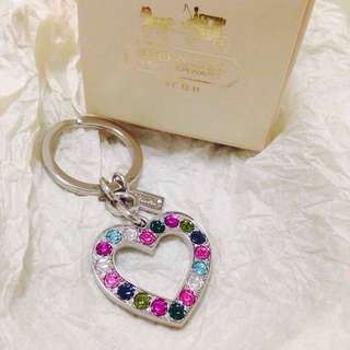 Coach Multi-Colored Rinestone Crystal Heart Silver Tone Keychain Charm