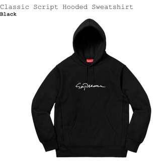 🚚 Supreme classic scaript hoodie 黑色 經典帽T