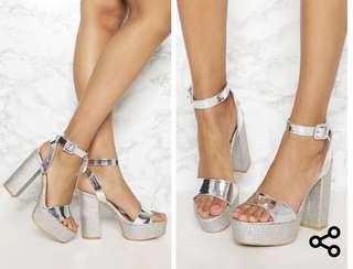 Silver Platform Heels NEVER WORN