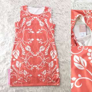 VL5818 Korean peach floral shift dress
