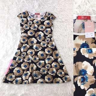 VL5819 Stanza black choco floral dress