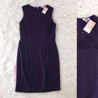 VL5897 Newlook purple stud neckline dress