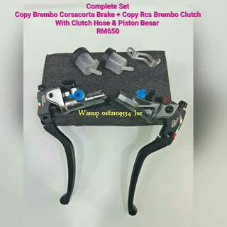 Complete Set Copy Brembo Corsacorta Brake Masterpump + Copy Rcs Clutch Masterpump + Clutch Hose n Piston Besar