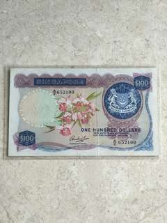 HSS WITHOUT SEAL SINGAPORE $100 ORCHID A/2 652100 VF/VF+