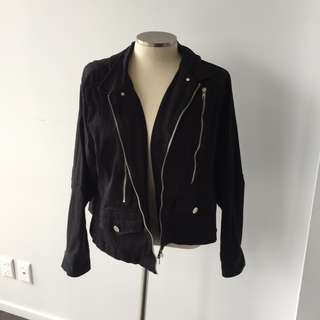 BLACK AND SILVER MOTOR JACKET