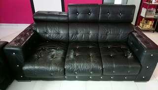 Black Diamonte Leather Sofa