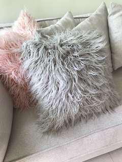 Cushion cover sofa furry shaggy grey brand new