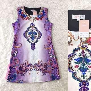 VL5846 ABL purple print dress