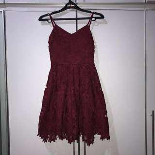 Thread Theory Dark Red Lace Dress