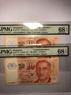 1 pair of Singapore polymer MAS commemorative $10 running number with PMG 68 EPQ