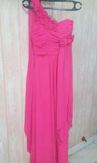 Gaun pesta fushia.long dress.