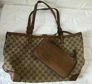 Gucci Brown Monogram Tote Bag With Handled Pouch