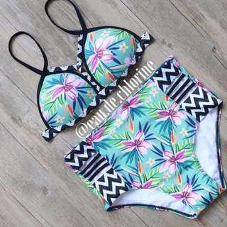Tribal Highwaist Two Piece Swimsuit Highwaist Bikini Swimwear