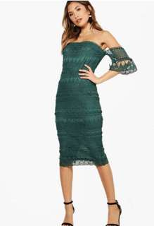 Emerald Off Shoulder Midi Dress