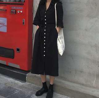 綁帶設計棉麻短袖洋裝. 黑色
