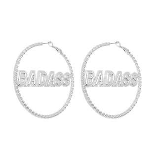 British brand : Skinny Dip London silver Badass earring Hip Hop earrings 銀色誇張大圈耳環