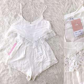 VL5807 Hana korean white crochet lace romper