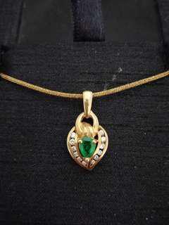 🚚 14K金祖母綠鑲鑽墬飾