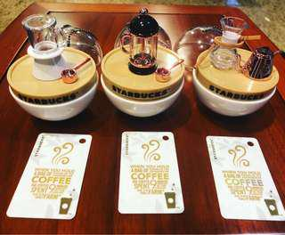 A set of 3 China starbucks card with mini roast experience set