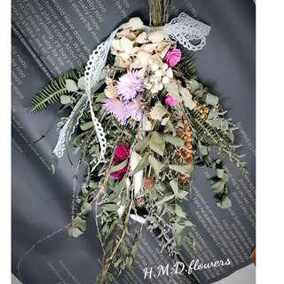 乾燥花 倒掛 居家裝飾 緞帶 蕾絲 吊飾 花材 法國白梅 卡斯比亞