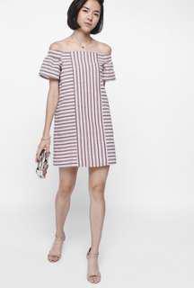 Love Bonito LB Schule Striped Off Shoulder Dress (Size XL)