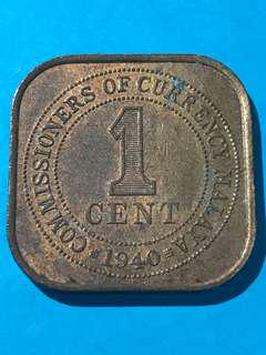 1940 Commissioners Of Currency Malaya One Cent / 1 Cent Coin