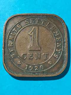 1920 Straits Settlements One Cent / 1 Cent Coin