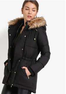 Miss Selfridge winter ladies black puffer jacket with hoodie
